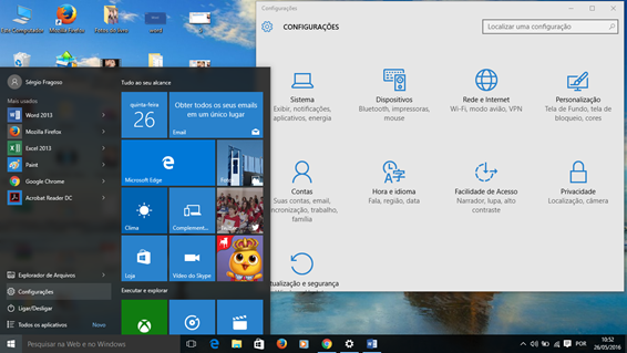 Configurações de hora e idioma do Windows 10